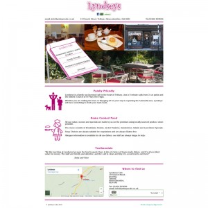 Simple brochure website for Cafe in Tetbury