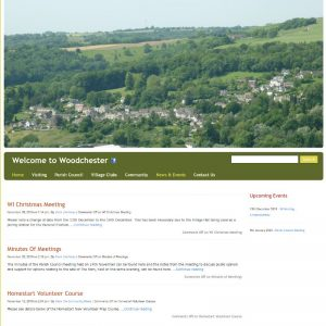 Local community website for Woodchester parish council